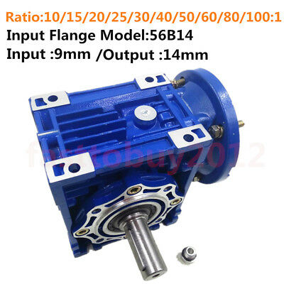 Flange 56B14 Worm Gearbox Geared Speed Reducer for Motor 10/15/20/25/30/50/100:1