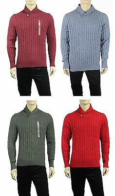 New Mens Tommy Hilfiger Shawl Collar Cable Knit Cotton Wool Pullover Sweater