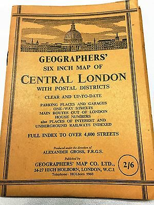"Vintage Geographers 6"" Map folded book Large Map CENTRAL LONDON ENGLAND Postal"