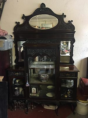 STUNNING MIRROR BACKED EMPIRE CABINET CARVED GLASS DISPLAY 7ft ANTIQUE • £1,200.00