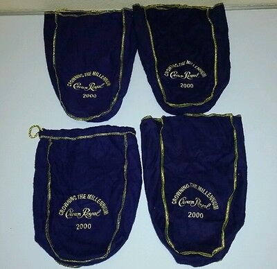 4 Crown Royal Crowning The Millennium 2000 Bags Purple Gold quilt pillow