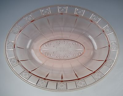 "Jeannette Glass DORIC-PINK 9"" Oval Bowl EXCELLENT"