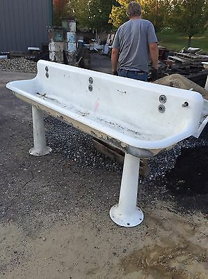 Antique Cast-Iron Porcelain Sink With 2Pedestal Base 8 '