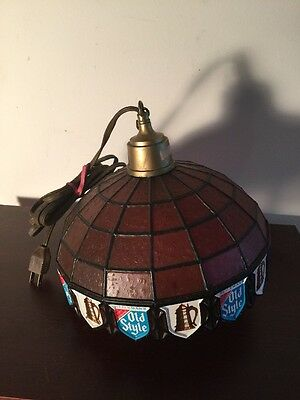 """Vintage 1980's Old Style Beer """"Stained Glass Style"""" Swag Light Sign"""