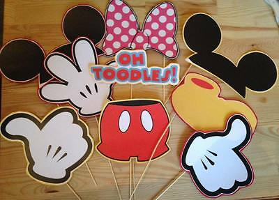 Mickey & Minnie Mouse  Birthday Photo Booth Props Masks On A Stick