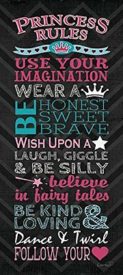 NEW Princess Rules; Great for a Child's Room or Nursery; One 8x18in Poster