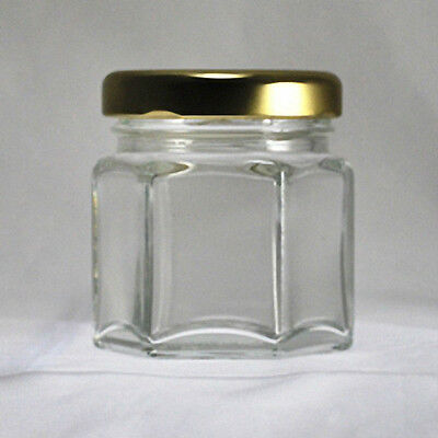 Hexagonal Glass Jars 1-1/2 oz (45 ml) with Gold-Colored Lids (Lot of 48)