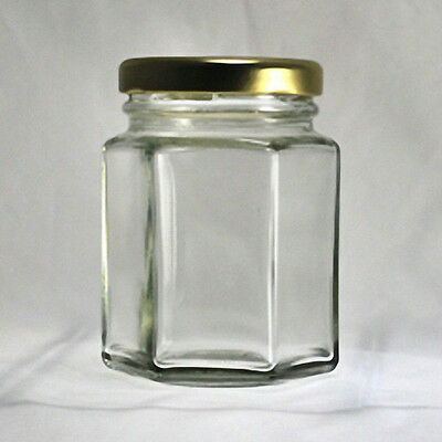 Hexagonal Glass Jars 3-3/4 oz (110 ml) with Gold-Colored Lids (Lot of 12)