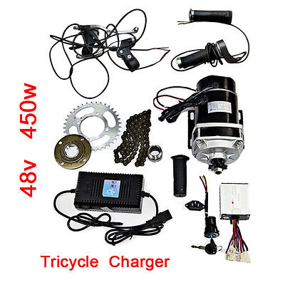 48V 450W Brush Motors Accessories Kit Electric Trike E-Bike Conversion + Charger