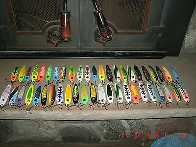 Forty Six 5 Inch Lures G W 's Salmon Slammer Spoons Assorted