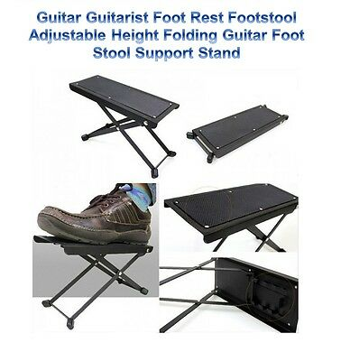 Guitar Player Guitarist Foot Stool Rest Stand Folding Adjusting Guitar Footstool