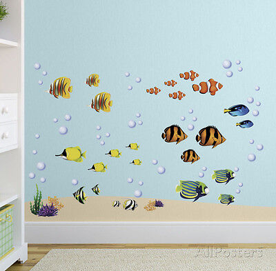 Bright Coral Reef Wall Decal Sticker - 10x18
