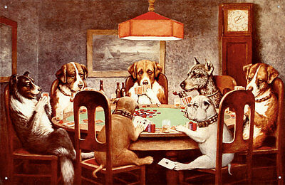 Seven Dogs Playing Poker Tin Sign - 16x10.5
