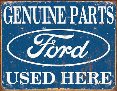 Ford Parts Used Here Tin Sign - 16x12.5