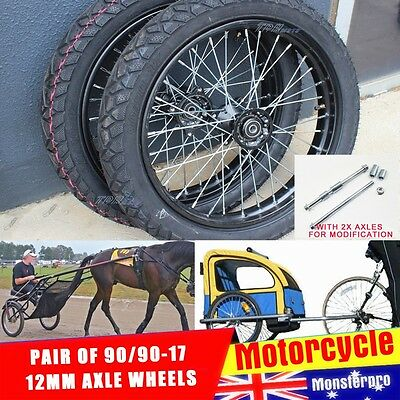 "Horse Sulky JOG Cart Buggy Wheels/Tires 90/90-17"" Wheel with 12mm Axle Bolt Set"