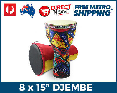 "8"" x 15"" Djembe Percussion Hand Drum African Design Includes Bag & Strap WMA816"