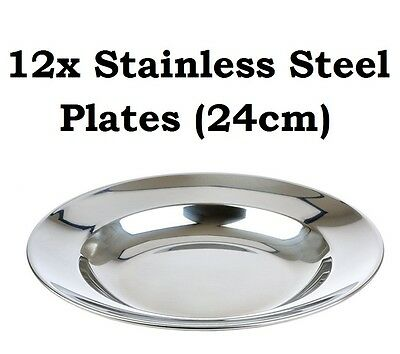 12x Camping Plates Set 24cm Stainless Steel Metal Picnic Function Dinner Plate