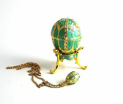 Russian Decorative Faberge Egg Trinket Jewel Box w/ Egg Pendant