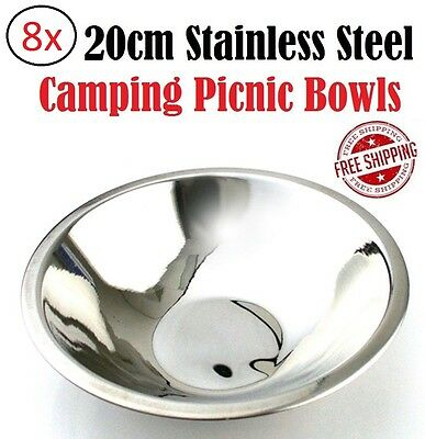 8x Camp Bowls Stainless Steel Dinnerware Party Picnic Plate Food Bowl Set Meal