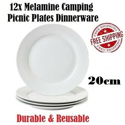 Camping Picnic Plates 20cm x12 Melamine Dinnerware Reusable Washable Party Plate