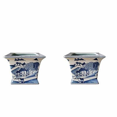 Beautiful Pair Blue and White Blue Willow Square Porcelain Flower Pot 6""