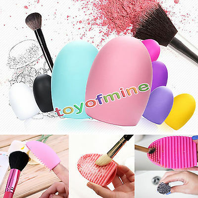 Makeup Washing Brush Silicone Glove Scrubber Board Cosmetic Clean Tool Brushegg