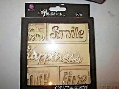 Prima - Wood Embellishments - Words & Heads & Flowers - 1 set of 3 only -NRS