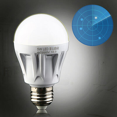 E27 LED Microwave Radar Motion Ambient Sensor Light Lamp Bulb AC85-265V 5W CD