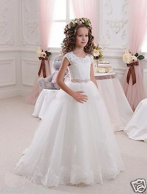 2016 Lace Flower Girl Wedding Dresses  Birthday Party First communion Dress Gown