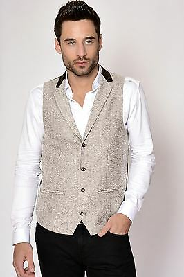 Mens Marc Darcy Designer Cream Heritage Tweed Collared Waistcoat Formal Vest