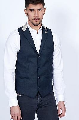 Mens Marc Darcy Designer Navy Blue Tweed Collared Waistcoat Formal Vest