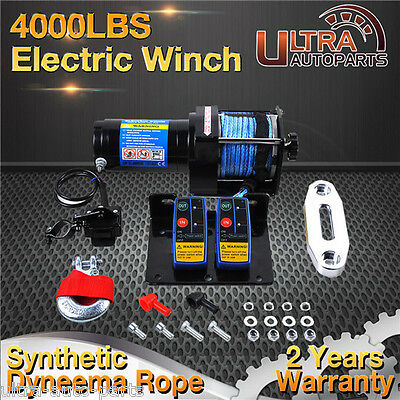 Electric Winch 4000lb 12V Synthetic Rope 2 Wireless Remotes 4x4WD Truck Boat ATV