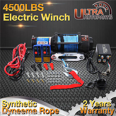 4500lb Electric Winch 12V With Synthetic Rope Wireless Remote 4WD Truck Boat ATV