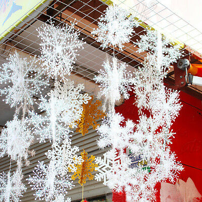 15Pcs Christmas Tree Frozen White Snowflake Hanging Party Decoration Ornament