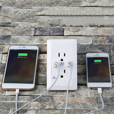 US Plug Dual 2 Port USB Wall Socket Charger AC Power Outlet Plate Panel lot DP