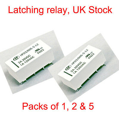 5V Coil Bistable Latching Relay DPDT 2A 30VDC  - High Quality Free Postage