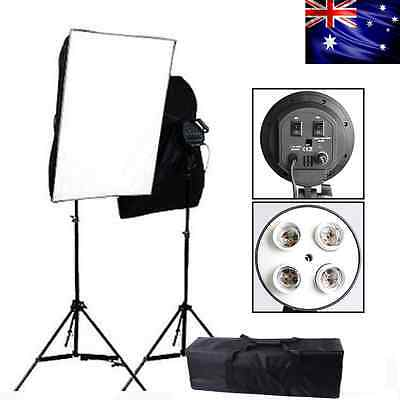 2200W Photo Studio 4Head Softbox Light Stand Continuous Soft Box Lighting Kit AU