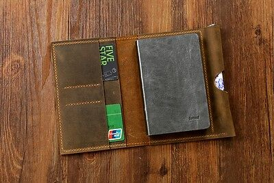 Personalized vintage distressed leather A6 notebook Refillable folio cover case