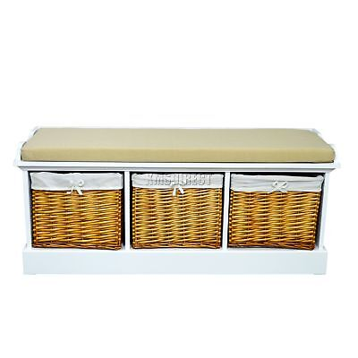FoxHunter Wooden Storage Bench Seat With 3 Wicker Basket Drawer Cabinet Natural