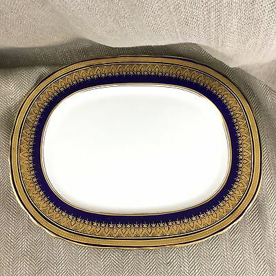 "Aynsley Bone China England SIMCOE COBALT BLUE 15 1/2"" Oval Serving Platter Plate"
