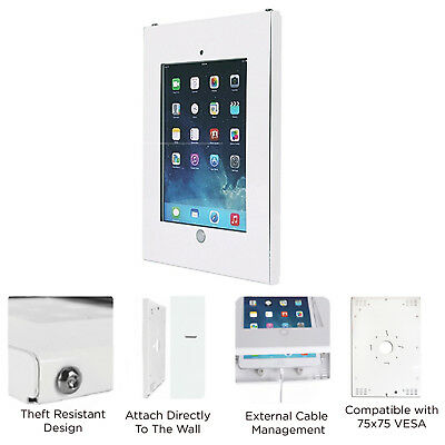 Ipad Pro 12.9 Anti Theft Tamper Secure Case Vesa 75 Wall Holder Mount White