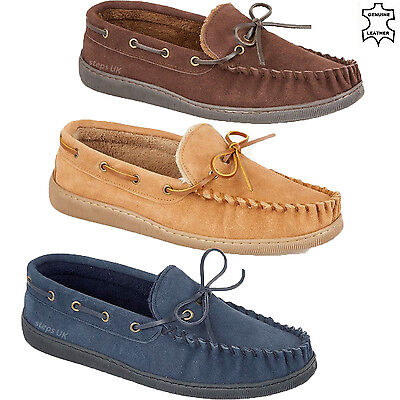 Mens Genuine Leather Moccasins Slippers Fur Lined Loafers Winter Hard Sole Shoes