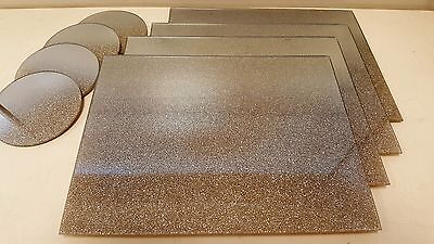 New pale gold shimmer  mirrored glass placemats and coaster set CONTEMPORARY