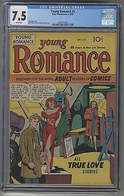 YOUNG ROMANCE #1 CGC 7.5 WHITE Pages Golden Age ROMANCE Jack Kirby Art KEY