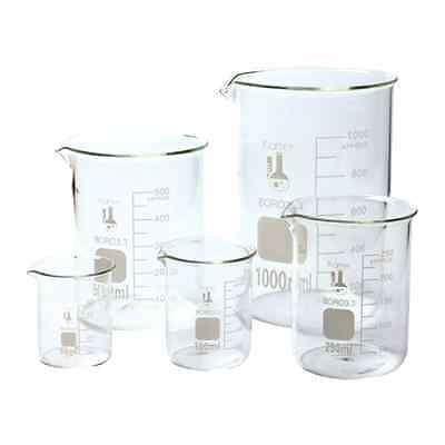 Scientific Glass Lab Pyrex Beaker Piece Set Measuring Cup Measure Test Mixing
