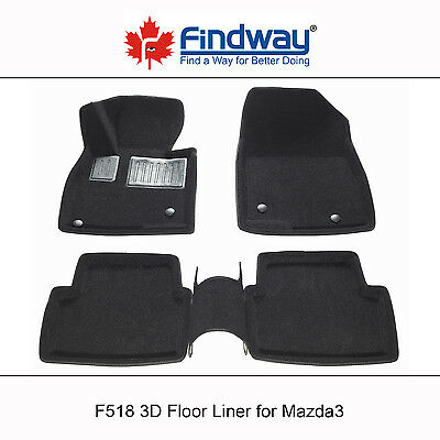 Black all weather 3D Car Floor Mats / Car Floor Liners for 2014-2016 Mazda3