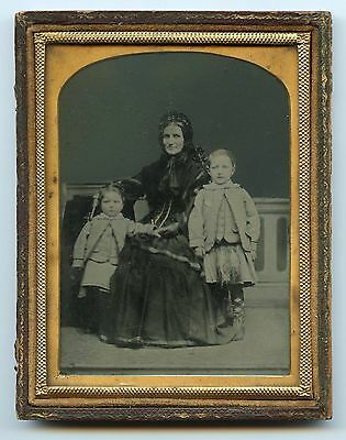 Mourning Woman  and Children in Scottish Costume, Ambrotype Photo
