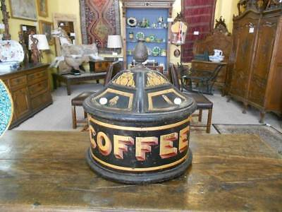 Antique VICTORIAN 19th Century English TOLEWARE Painted Large Coffee Display Bin