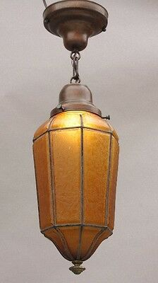 1920s Amber Glass Interior Pendant Light Antique Vintage Tudor Lighting (9703)