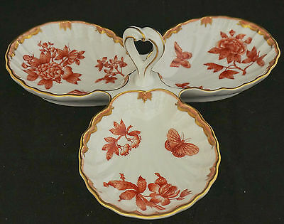 Herend Fortuna Rust 3-Part Relish  Snack Tray Butterfly Flowers Mint